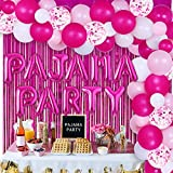 Pajama Party Decorations for Girls Women, Pajama Overnight Party Supplies - Balloon Garland Kit for Ladies Night Slumber Sleepover Spa Party Decorations with Foil Curtain