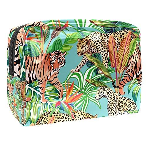 Trousse de toilette multifonction pour femme - Feuilles tropicales et léopard