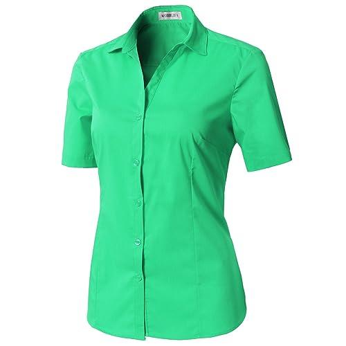 CLOVERY Womens Short Sleeve Basic Button Down Slim Fit Fomal Shirt