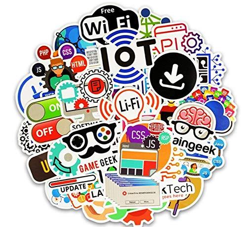Egero - Set di 50 adesivi Geek, WiFi, computer portatile, per decorazione di portatili, computer, skateboard, monopattini, tazze, ecc. Perfetta aderen