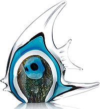 Peces Tropicales de la Raya Azul Escultura de Vidrio Decoración Hogareña Peces de Vidrio de Tooarts