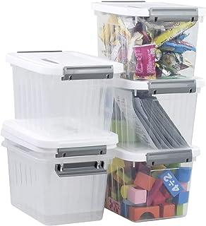 Rinboat Cajas de Almacenamiento de Plástico Transparente de 6 Litros con Tapas Blancas y Asas Grises, 6 Paquetes