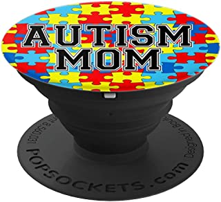 Autism Mom with Colorful Puzzle Pieces as a Background - PopSockets Grip and Stand for Phones and Tablets