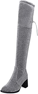 MisaKinsa Women Fashion Thigh High Boots Stretchy Faux Suede