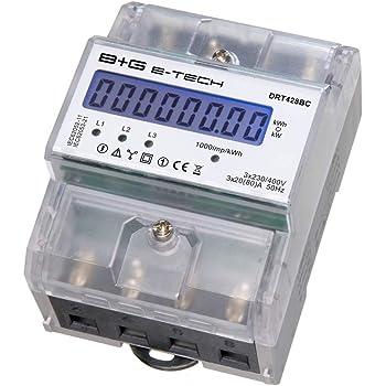 Stromzähler LCD Digital Drehstromzähler Hutschiene Geeicht 3x230V//400V 5A A 80