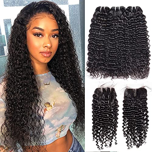 Vipbeauty Malaysian Deep Curly 3 Bundles With Closure Three Parting Unprocessed Virgin Hair Weave Extensions With 4x4 Lace Closure ( 10 12 14 with 10 Closure )