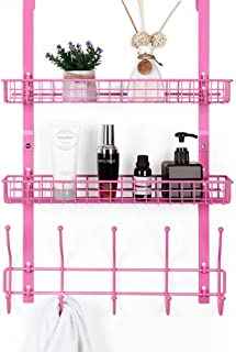 Coat Hook Metal Storage Shelf Rack Organizer with 2 Baskets & 5 Hooks Over The Door Hooks Shleves Decorative for Office, Bathroom, Bedroom (Pink)