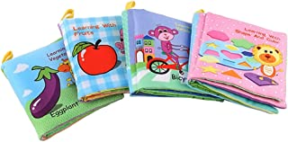 TOYMYTOY Fabric Baby Cloth Books Non-Toxic Cloth Educational Books with Rustling Sound Crinkle BB Device Inside Pack of 4