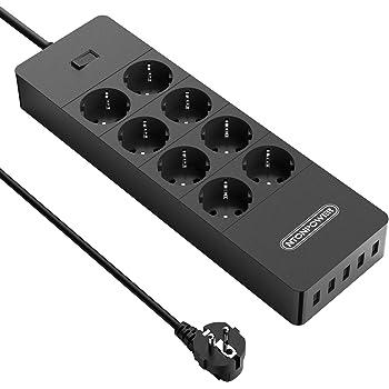 Noir Protection contact Multiprise 6 fois avec interrupteur 1,5m Câble