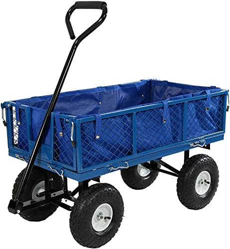 high quality Sunnydaze Utility online sale Steel Garden Cart with Liner, Outdoor Lawn lowest Wagon with Removable Sides, Heavy-Duty 400 Pound Capacity, Blue sale