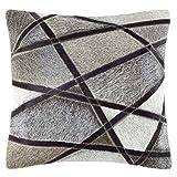 Livorio Exklusives Patchwork-Kuhfell-Kissen - 40x40cm - handgefertigt - Tangled Rhombus grau - 100%...