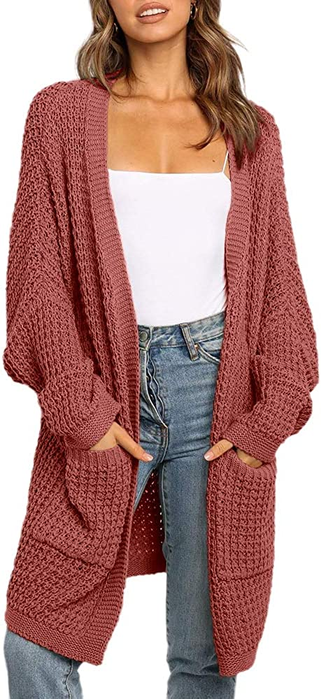 Imily Bela Womens Long Cardigan Sweaters Oversized Open Front Batwing Sleeve Fall Knit Duster Coats with Pocket