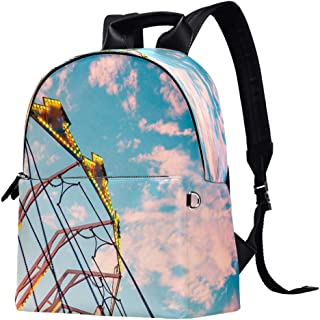 EGGDIOQ Ferris Wheel Printed Fashion Leather Backpack Waterproof Durable School Bookbag Backpack Laptop Bag Daypack for Wo...