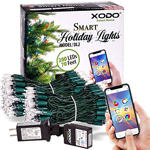 XODO DL1 Indoor/Outdoor WiFi RGB String Lights 35ft 100LED, Smart Controlled by App, Infinite Color String Lights for Christmas Tree Or Around House, Compatible with Alexa, Google Home, Siri (35ft)