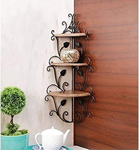MAH Wooden and Wrought Iron Corner Rack Side Table Wall Shelf Wooden Corner Rack Home Decor