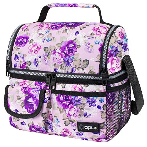 OPUX Insulated Dual Compartment Lunch Bag for Men, Women | Double Deck Reusable Lunch Pail Cooler Bag with Shoulder Strap, Soft Leakproof Liner | Large Lunch Box Tote for Work, School (Floral Purple)
