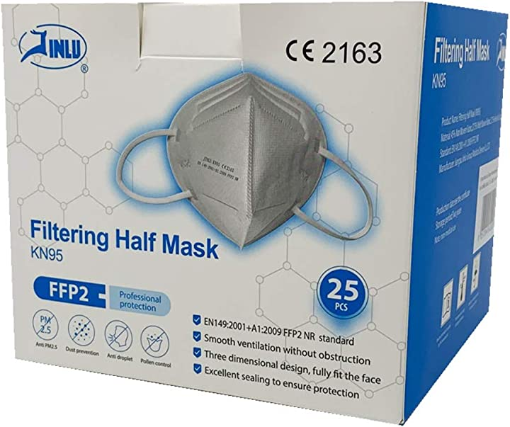 Mascherina ffp2 kn95 jinlu- 209 g, 25 pezzi - mask ffp2 KN95CE2163