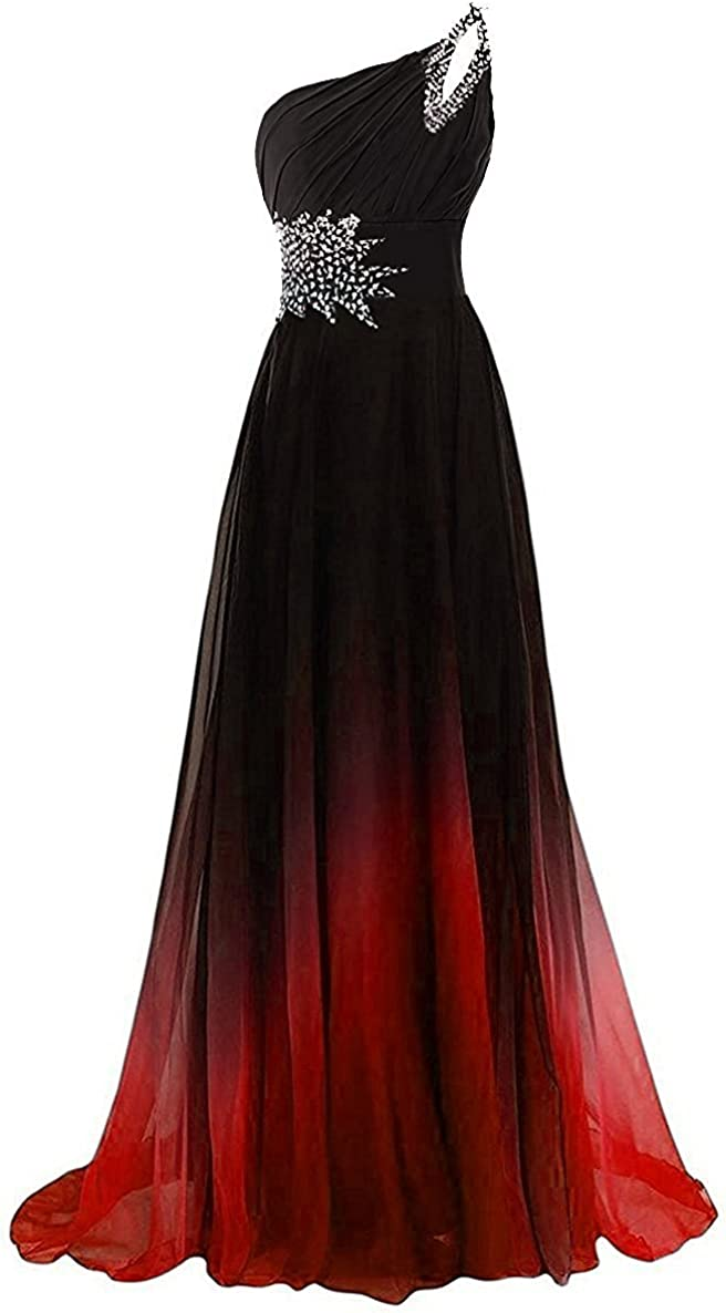 Omaha Mall CutieTell One Shoulder Pleated Gradient Rare Dresse Prom Long Evening
