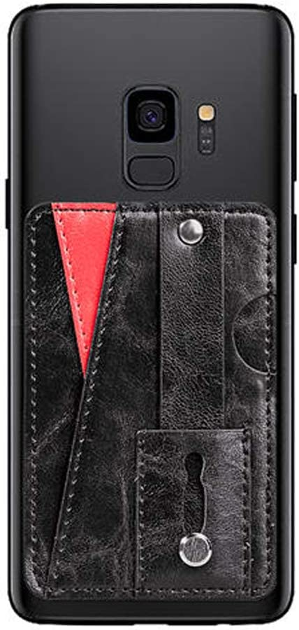 Arlgseln Adhesive Purse Phone Card Holder, Slim Multi functional Wallet Pouch Cell Phone Sleeve with Finger Strap Grip for iPhone SE 11 Pro Max, Samsung Galaxy S20 Ultra S10 Note 9 A30 A50 A71 (Black)