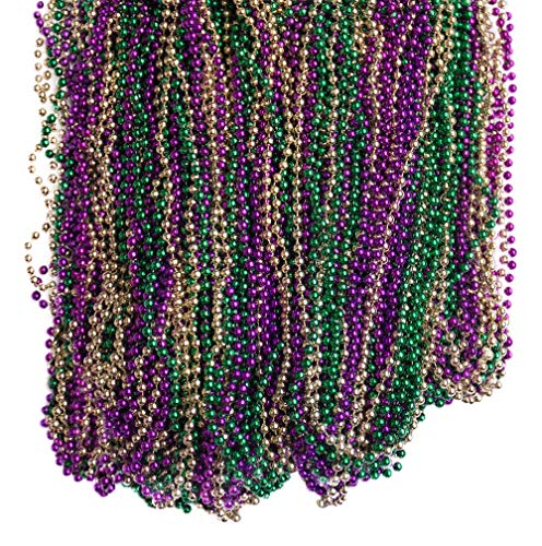 DABSHOP 144 Necklaces- 33 inch Mardi Gras Beads - Bead Necklace for Mardi Gras, Flapper Halloween Costume, and Party Decorations - Bulk Buy for Dresses, Floats, Toys, Games, Party Supplies