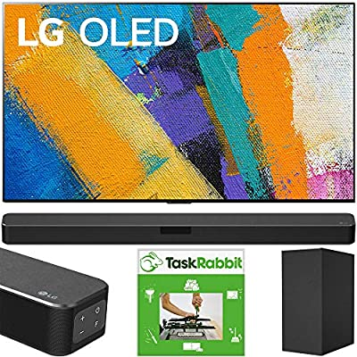 LG OLED55GXPUA 55-inch GX 4K Smart OLED TV with AI ThinQ (2020) Bundle with LG SN5Y 2.1 Channel High Res Audio Sound Bar with DTS Virtual:X and Taskrabbit Installation Service + Wall Mount Kit from LG