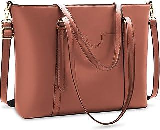 NUBILY Handtasche Shopper Damen Groß 15.6 Zoll PU Leder Shopper Dunkelbraun Laptop Umhängetasche Gross Business Aktentasch...