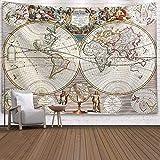 N / A Navigation Weltkarte Wandteppich Wandteppich Isomatte Retro Wandteppich Kunst Runde Handtuch...