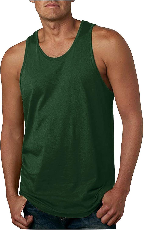 QWENTMTNTY Mens Tank Tops Workout Yoga Beach T Shirts Round Neck Plain Casual Tee Shirt Fitness Loose Fit Black Blouse 3XL