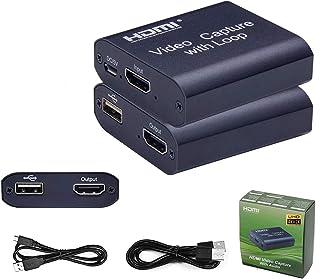 キャプチャーボード 4K USB3.0 1080p 60PFPS HDMIキャプチャカード ループアウト付き HDMIループアウト 軽量小型 Windows Android MacOS OBS YouTube Switch Xbox One P...