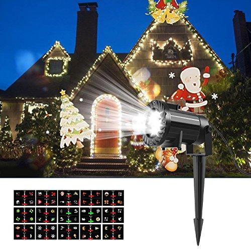 Weihnachtsbeleuchtung Projektor lampe, LESHP Xmas Lights Wasserdichte Spotbeleuchtung Landschaft Scheinwerfer Lichter mit 15 Wechselbaren Musters Fernbedienung für Garten/Party/Weihnachten/Halloween/A