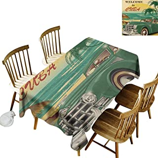 Anti-wrinkle and anti-wrinkle polyester long tablecloth For weddings/banquets Nostalgic Welcome to Cuba Artsy Print with Classic Car Beach Ocean Palm Trees W52 x L70 Inch Green Cream Yellow