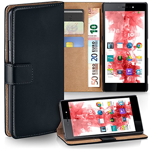 MoEx Premium Book-Hülle Handytasche passend für Wiko Highway Star | Handyhülle mit Kartenfach & Ständer - 360 Grad Schutz Handy Tasche, Schwarz