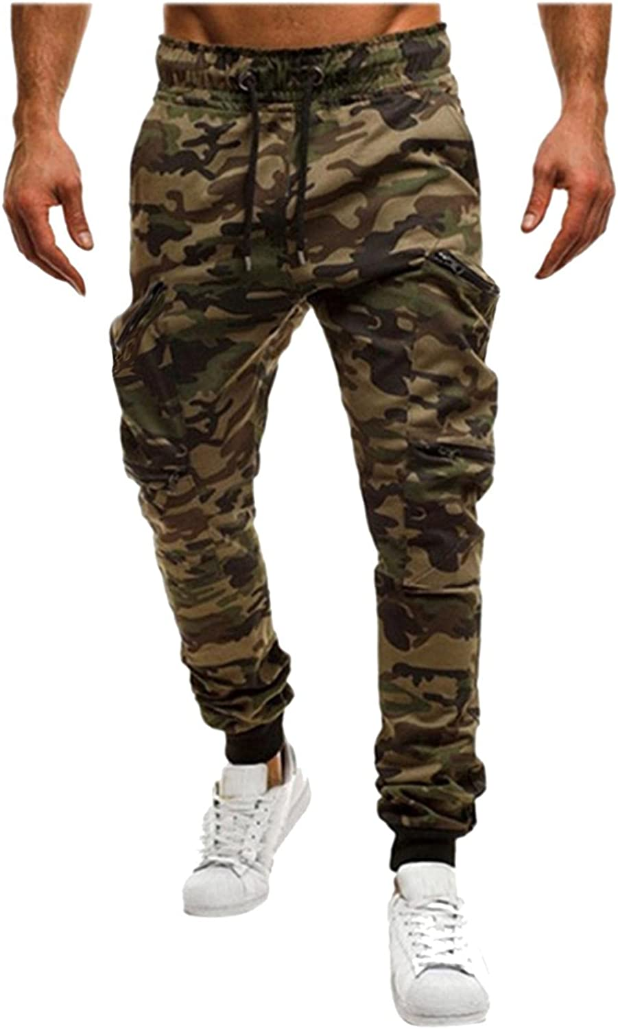 Beshion Camo Sweatpants for Men Jogger Slim Cargo Pants Stitching Printed Active Athletic Soft Trousers for Running Gym