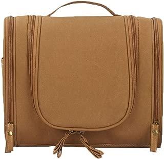 Sodhue Travel Toiletry Bag Hanging Makeup Bag Waterproof Cosmetic Organizer Kit Compact Wash Bag for Bathroom Vacation Daily Life Brown