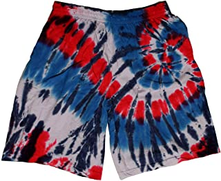 Cotton Red White Blue Spiral Tie Dye Shorts Men Women Teens