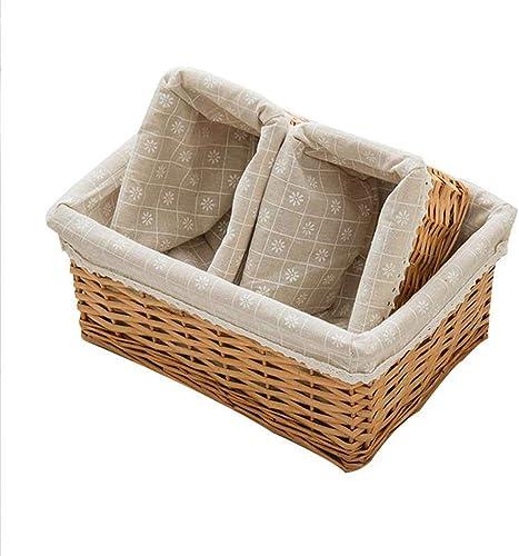 QYSZYG Rangement en Bambou de Stockage de paniers de lit en Bambou de Panier de collation de lit en rougein de Panier en Osier, Taille en Option Panier de Rangement (Taille   38  28  16cm)