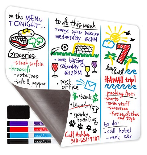 Magnetic Dry Erase Whiteboard Sheet For Kitchen Fridge: with Stain Resistant Technology - Two Sizes - Includes 4 Markers and Big Eraser with Magnets - Refrigerator White Board Organizer and Planner