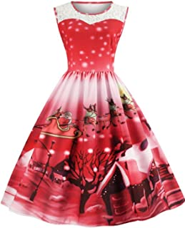 LANCYBABY Women's Christmas Dress 1950s Vintage Sleeveless Rockabilly Swing Prom Party Cocktail Dresses