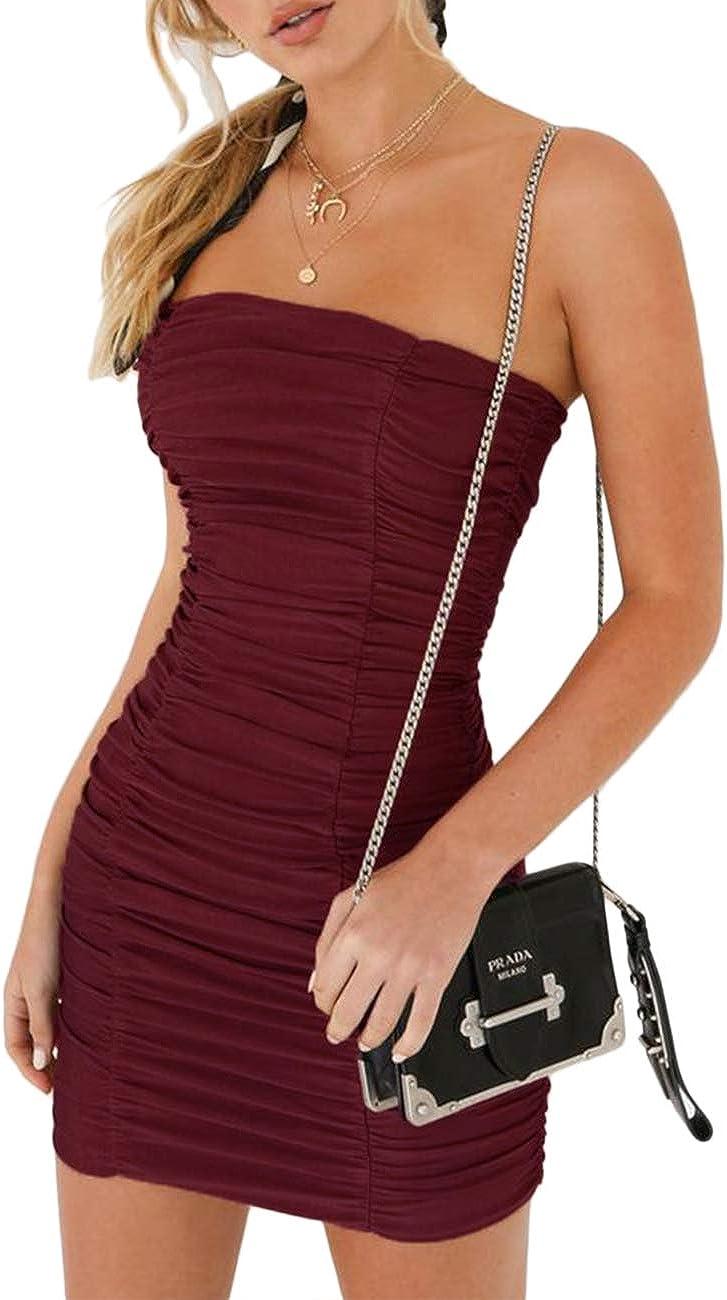 Sexyshine Women's Basic Sexy Strapless Bodycon Smoother Tube Slip Dress Clubwear
