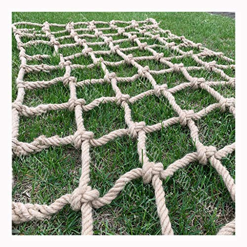 Twisted Jute Rope,net Rope Heavy Duty Thick Jute Rope Hemp Rope Fixed Cargo Net Playground Climbing Swingset Protection Net Indoor Climbing Net Military Jungle Gyms Heavy Duty for Kids and Adult