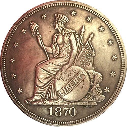 Recuerdos a Medida Raro Antiguo Estados Unidos 1870 año de Libertad sentada Gran Plata Color dólar…