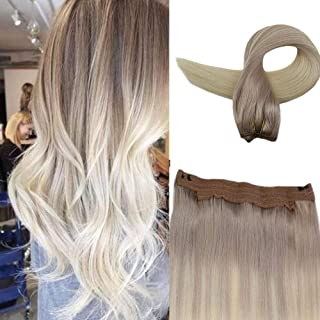Easyouth Real Hair Halo Extension 80g 16inch Colored 18 Ash Blonde Fading to 60 Platinum Blonde Human Hair Crown Human One Piece Extensions
