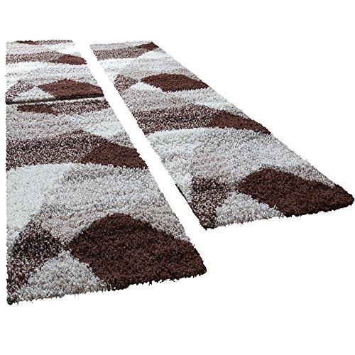 Shaggy Läufer Bettumrandung Hochflor Teppich Vigo In Versch. Farben 3er Set, Farbe:braun, Läuferset Größen:2 mal 70x140 1 mal 70x250 cm