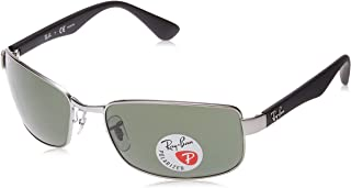 Ray-Ban Men's Rb3478 Polarized Rectangular Sunglasses Gunmetal 59.8 mm