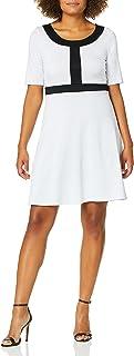 Star Vixen womens Short Slv Fit-n-Flare Dress w Blk Frame Dress