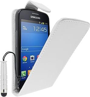 ebestStar - Funda Compatible con Samsung Galaxy Trend 2 Lite SM-G318H, Galaxy V Plus Carcasa Abatible PU Cuero, Ultra Slim Case Cover + Mini Lápiz, Blanco [Aparato: 121.4 x 62.9 x 10.7mm, 4.0'']