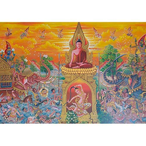 wall26 - Art Thai, Mural Mythology Buddhist Religion on Wall in Wat Neramit Vipasama, Dansai, Loei, Thailand - Removable Wall Mural   Self-Adhesive Large Wallpaper - 66x96 inches