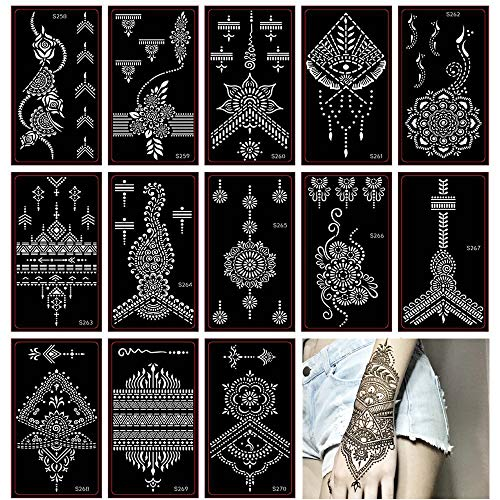 Xmasir Henna Tattoo Stencil/Glitter Temporary Tattoo Temples Set of 30 Sheets, Indian Henna Tattoo Sticker Kit For Body Art Painting