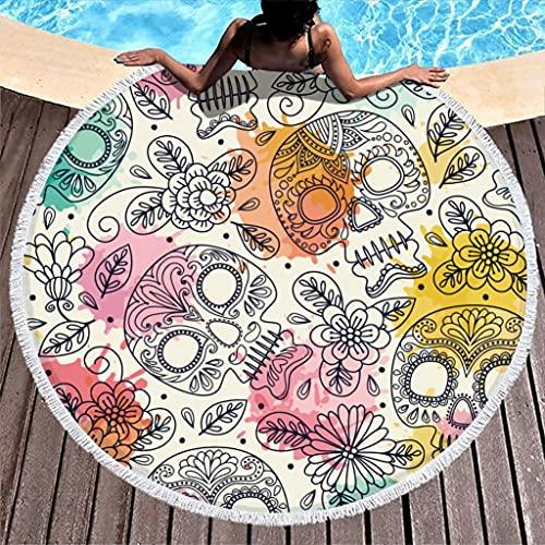 Toalla de playa con diseño de calavera, redonda, de microfibra, absorbente, para dos personas, color blanco, 150 cm