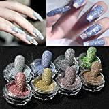 8 Colors Holographic Nail Glitter Dust Metallic Mirror Effect Nail Powder for Salon Home Nail Art DIY Deco, Face, Make Up